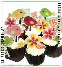Bird & Flowers Pink Yellow Edible Stand Up Cupcake Toppers Cake decorations