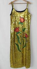 Vtg Sequin Dress Full Length Spaghetti Strap Gold Tone Size X L