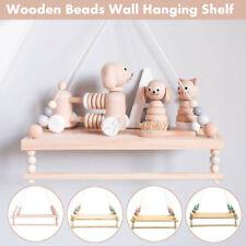 Wooden Nordic Style Hanging Tassel Bead Storage Wall Shelf Nursery Kid A