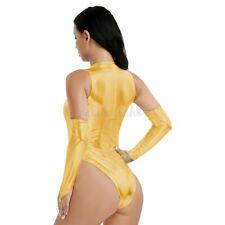 Women PU Leather Bodysuit Wetlook Leotard Catsuit Jumpsuit Clubwear Costumes