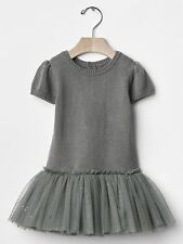 GAP Baby Girls Size 6-12 Months Gray / Gold Tulle Ballerina Sweater Dress Skirt