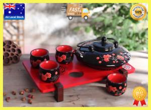 Japanese Style 5 Piece Black Porcelain Tea Set Gift 1 Teapot + 4 Double Wall Cup