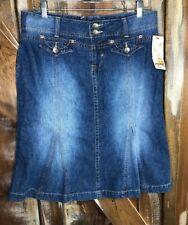 VTG Union Bay Faded Denim Blue Jean Skirt Zipper Size 9 Womens Tulip Bottom