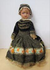 "Antique 14"" French papier mache shoulder head girl in original outfit Vgc"