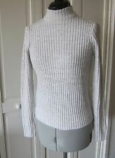 DIVIDED H&M CHIMNEY COLLAR RIBBED ECRU BEIGE SWEATER - SIZE XS