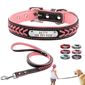 Personalised Dog Collar and Lead set Leather Collar for Small Medium Large Dogs