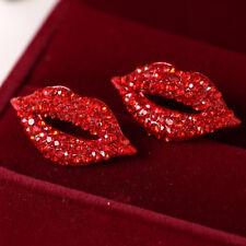 Great Big Classic Luxurious Elegant Sexy Red Lip Rhinestone Sutd Earrings XBUK