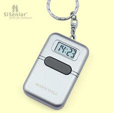 Sprechender Schlüsselanhänger mit Alarmfunktion Uhr mit Sprachausgabe silber