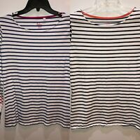 Boden Lot of 2 Womens Size 8 Long Sleeve Shirts White w/ Black or Blue Stripes