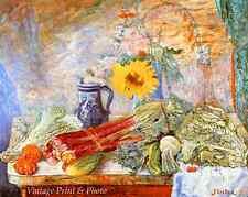 Still Life by James Ensor - Art Table Sunflower Vegetables Jug 8x10 Print 0425