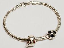 925 Sterling Charm Bracelet Holiday & Pandora ALE 925 Soccer Ball Charms