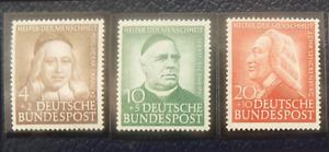 BRD aus Briefmarkensatz 1953, Helfer der Menschheit 3 Werte postfrisch,