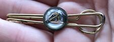 Vintage Tie Clip Reverse Paint Etched Glass Crystal Equestrian Horse Estate