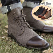 Men's Retro British Faux Leather Boots Dress Formal Casual Elegant Lace Up Shoes