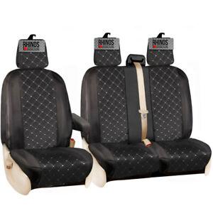 FORD TRANSIT CUSTOM 2020 2021 - BLACK DIAMOND POLYESTER TAILORED VAN SEAT COVERS
