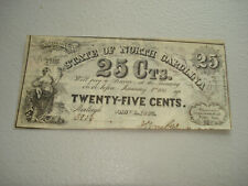 SCARCE, OBSOLETE, 1863 STATE OF NORTH CAROLINA 25 CENT NOTE,   C-7-1