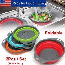 New listing 2Pcs Set Collapsible Foldable Silicone Colander Fruit Vegetable Strainer Basket