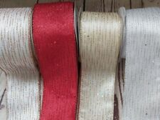 63mm Wide Satin Sparkle Wired Edge Ribbon Eleganza Gold, Silver, Rose Gold, Red