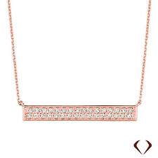 0.40CT Diamond Bar Necklace 14KT Rose Gold