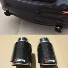 2Pc Akrapovic Glossy Carbon Fiber pipe Exhaust Tip For Infiniti Q50 2014-2017