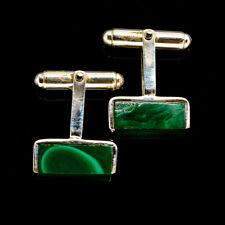 "Malachite 925 Sterling Silver Cufflinks 1"" Ana Co Jewelry CL1031F"