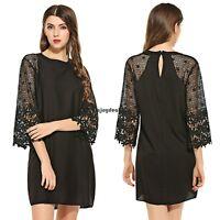 Women Fashion 3/4 Sleeve O-Neck Women Lace Dress Chiffon Dress Mini Dress OO55