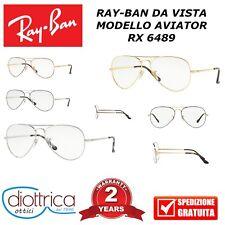 RAY-BAN AVIATOR VISTA UOMO DONNA MONTATURA RB 6489 RX GOCCIA METALLO RAYBAN MODA