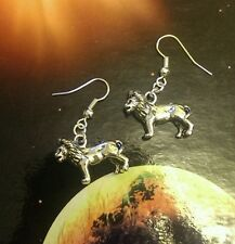 * Lion big cat * vintage silver dangle stud earrings / kitsch /goth / steam punk