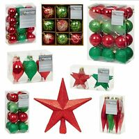 Red Green Collection Christmas Decorations Baubles Star Cones Hearts Tree Topper