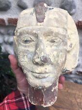 Très Belle ancienne grande tete Pharaon Égypte pierre polychromie XIX Ou Avant