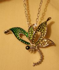 Dainty Openwork Green Enamel Rhinestone Dragonfly Silvertone Pendant Necklace