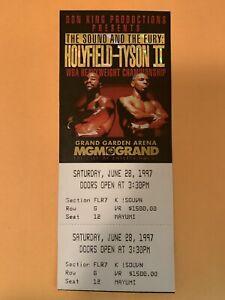 Mike Tyson vs Evander Holyfield II 1997 FULL UNUSED $1500 Holo Floor Ticket