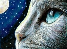 Jacob Landis Limited edition ACEO print /250 Kitty cat Tabby night moon stars