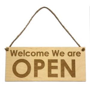 Open Closed Sign Reversible Wooden Hanging Plaque Door Window Bar Cafe Shop