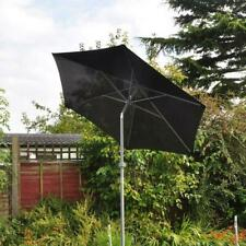 Large Black 2M Garden Parasol Outdoor Umbrella Aluminium Tilt Patio Decor Shade