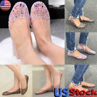 US Women Slip On Flat Shoes Summer Glitter Sandals Jelly Crystal Sandals Sliders