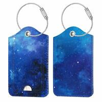 [ 2 Pcs ] Luggage Tags Travel Bag Suitcase Backpack Labels Name Card Holder