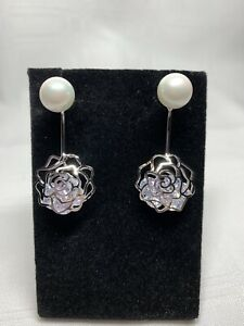 *New Without Tag* 18K White Gold Plated Shell Pearl Swarovski Earrings
