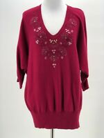 LC Lauren Conrad Women's Pink Red Jeweled V-Neck 3/4 Sleeve Sweater Size Large