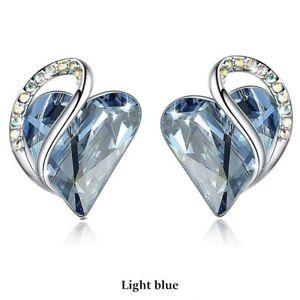 Fashion Silver Love Heart Sky Blue Zircon Stud Earring Party Wedding Jewelry Gif
