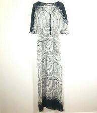 Twelfth Street Cynthia Vincent M Medium Silk Maxi Dress Dolman Tassel NEW