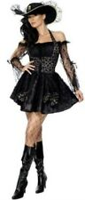 Sexy Womens Black Pirate Swashbuckler Fancy Dress Costume Size 14 -16 P5703