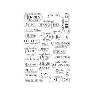 Christmas Greetings Sentiments Cling Stamps Poppystamps Words clear stamp set