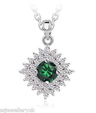 Green Cubic Zirconia Swarovski Elements & Rhinestone Pendant Necklace 18k GP