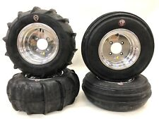 """DWT 14"""" Polish Ultimate Sport Front Rear Rims GMZ Sand Stripper Paddle Tires RZR"""