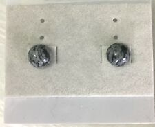 8 mm Round Snowflake Obsidian Sterling Silver Stud Earrings Ship from USA