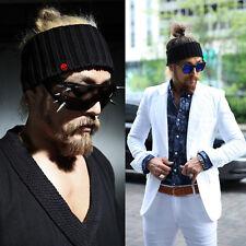ByThe Sporty Street Style Corduroy Pattern Wide Knit Headband Hat Black CA N