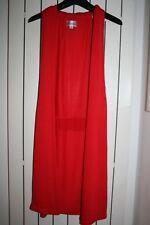 NEW! SUGAR REEF red sleeveless cardigan SIZE S 8 unusual long jumper waterfall