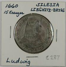 C287 German States, Silesia Liegnitz Brieg, AR 15 Kreuzer of Ludwig IV, 1660 D