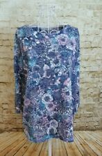 George Women's Blue & Pink Floral Print  3/4 Sleeve Stretch Knit Top Size 14